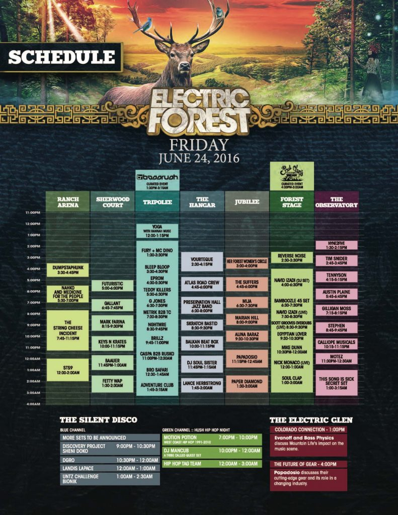 Electric Forest Friday Schedule